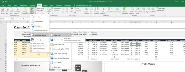 Cryptocurrency Excel Spreadsheet Regarding I've Created An Excel Crypto Portfolio Tracker That Draws Live