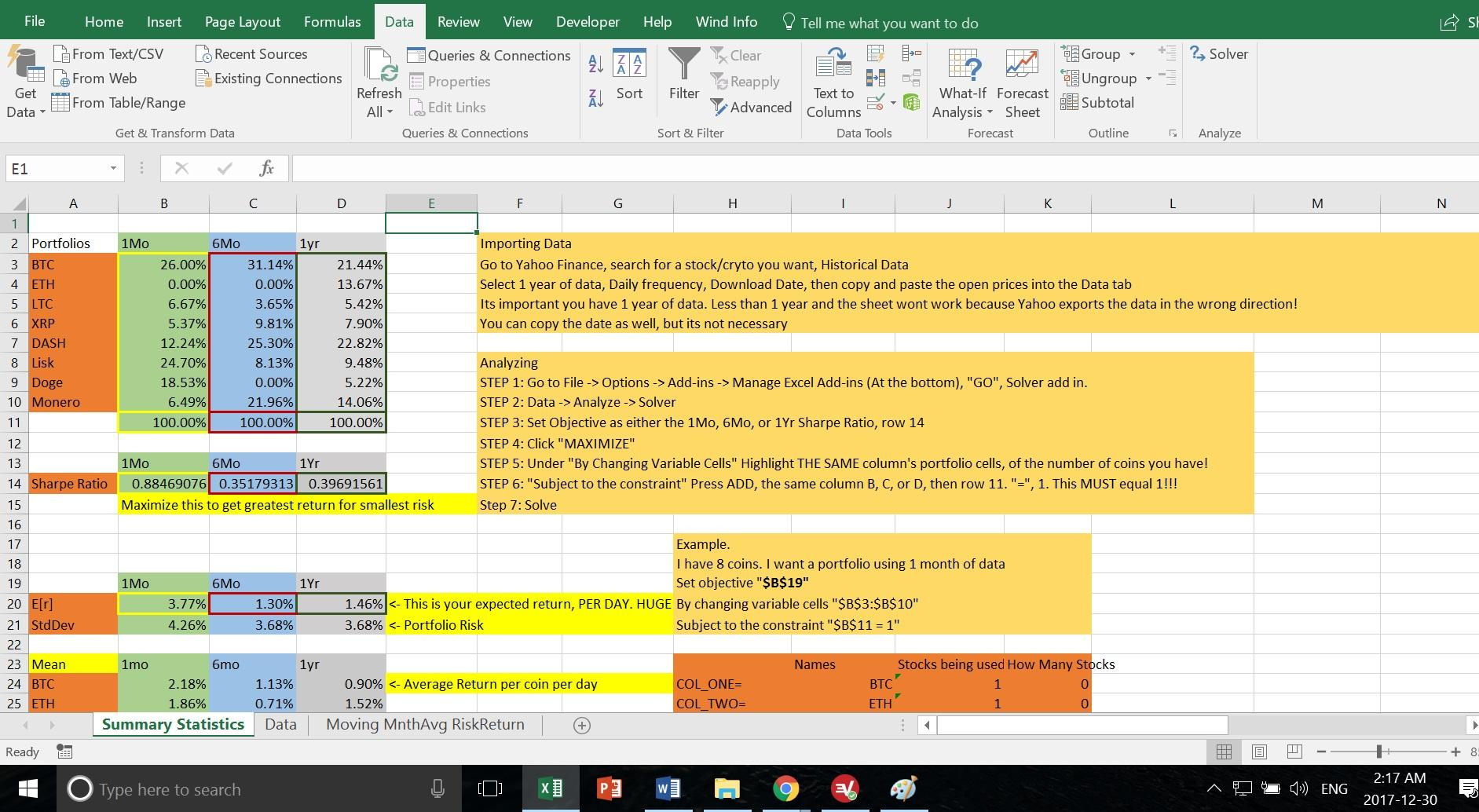 Cryptocurrency Excel Spreadsheet Throughout I Created An Excel Spreadsheet To Automatically Suggest Portfolio