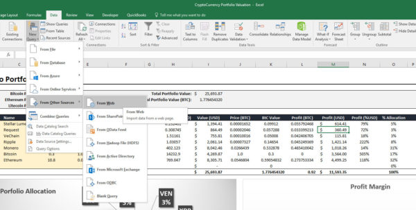 Cryptocurrency Excel Spreadsheet Tracker With Regard To I've Created An Excel Crypto Portfolio Tracker That Draws Live