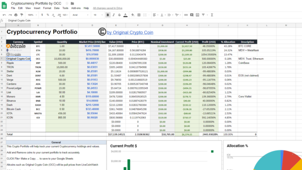 Cryptocurrency Excel Spreadsheet With Regard To Cryptocurrency Portfolio Tracker  Crypto Coin