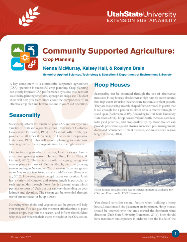Csa Planning Spreadsheet Regarding Pdf Community Supported Agriculture: Crop Planning