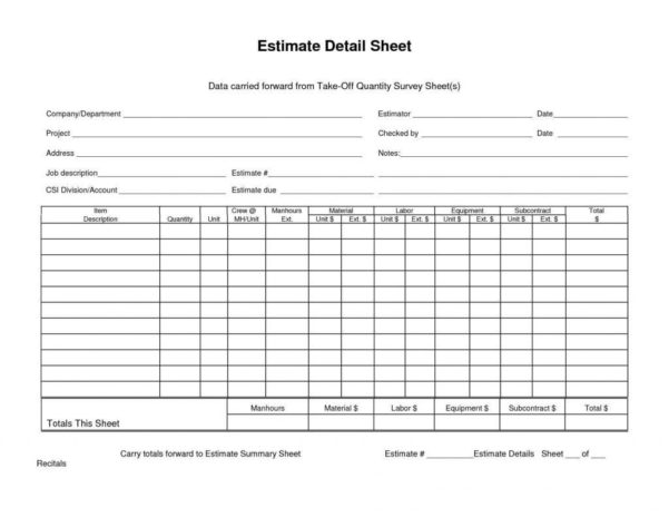 Csi Divisions Excel Spreadsheet Within Csi Divisions Excel Spreadsheet Examples Construction Estimating