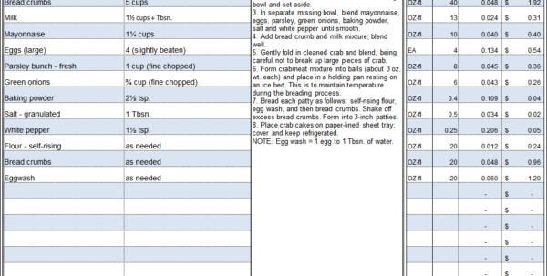 Culinary Spreadsheets For Menu  Recipe Cost Spreadsheet Template
