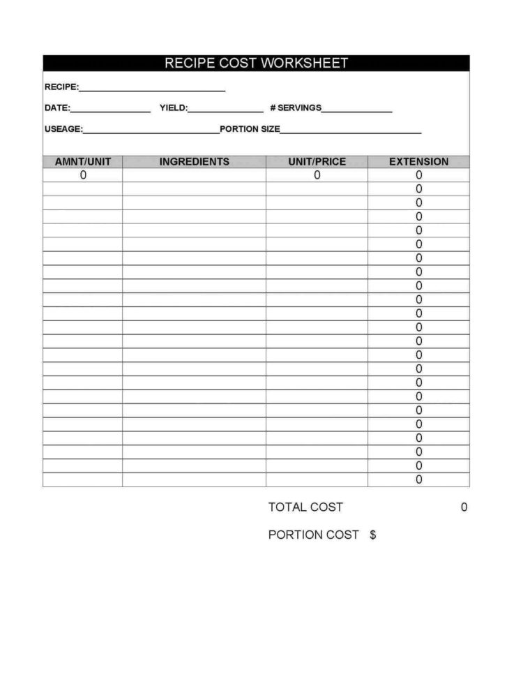 Culinary Spreadsheets In Food Costing Software Free Download  Pulpedagogen Spreadsheet