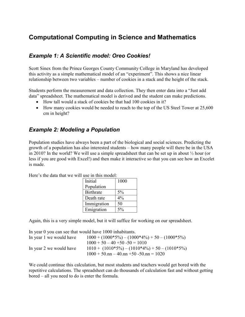 D1 Stack Height Calculation Spreadsheet Intended For Computational Computing In Science And Mathematics