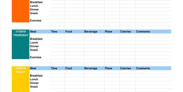 Daily Calories & Food Nutrition Excel Spreadsheet Calculator Within 40 Simple Food Diary Templates  Food Log Examples