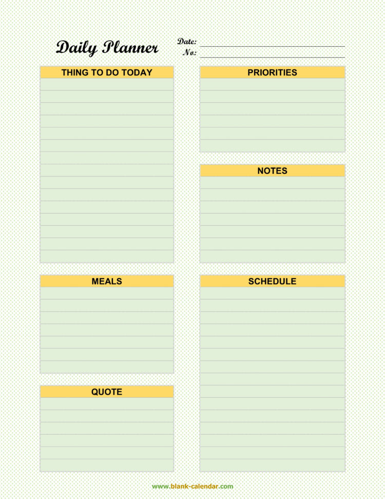 Daily Planner Spreadsheet Intended For Daily Planner Templates Word, Excel, Pdf