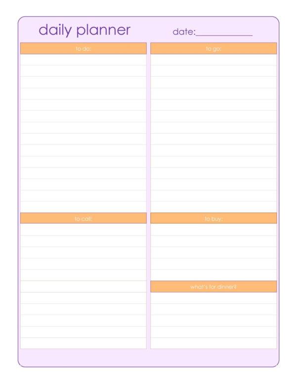 Daily Planner Spreadsheet Regarding 40  Printable Daily Planner Templates Free  Template Lab