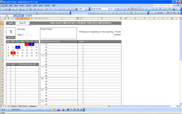 Daily Planner Spreadsheet With Daily Planner  Excel Templates