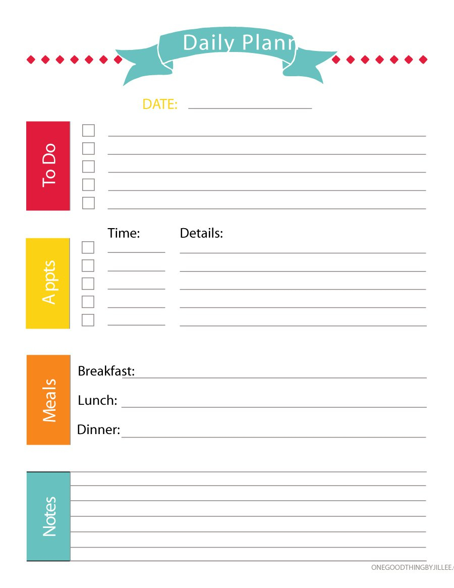 Daily Planner Spreadsheet Within 40  Printable Daily Planner Templates Free  Template Lab