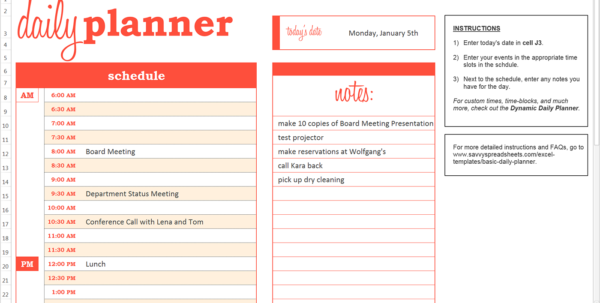 Daily Planner Spreadsheet Within Basic Daily Planner  Excel Template  Savvy Spreadsheets