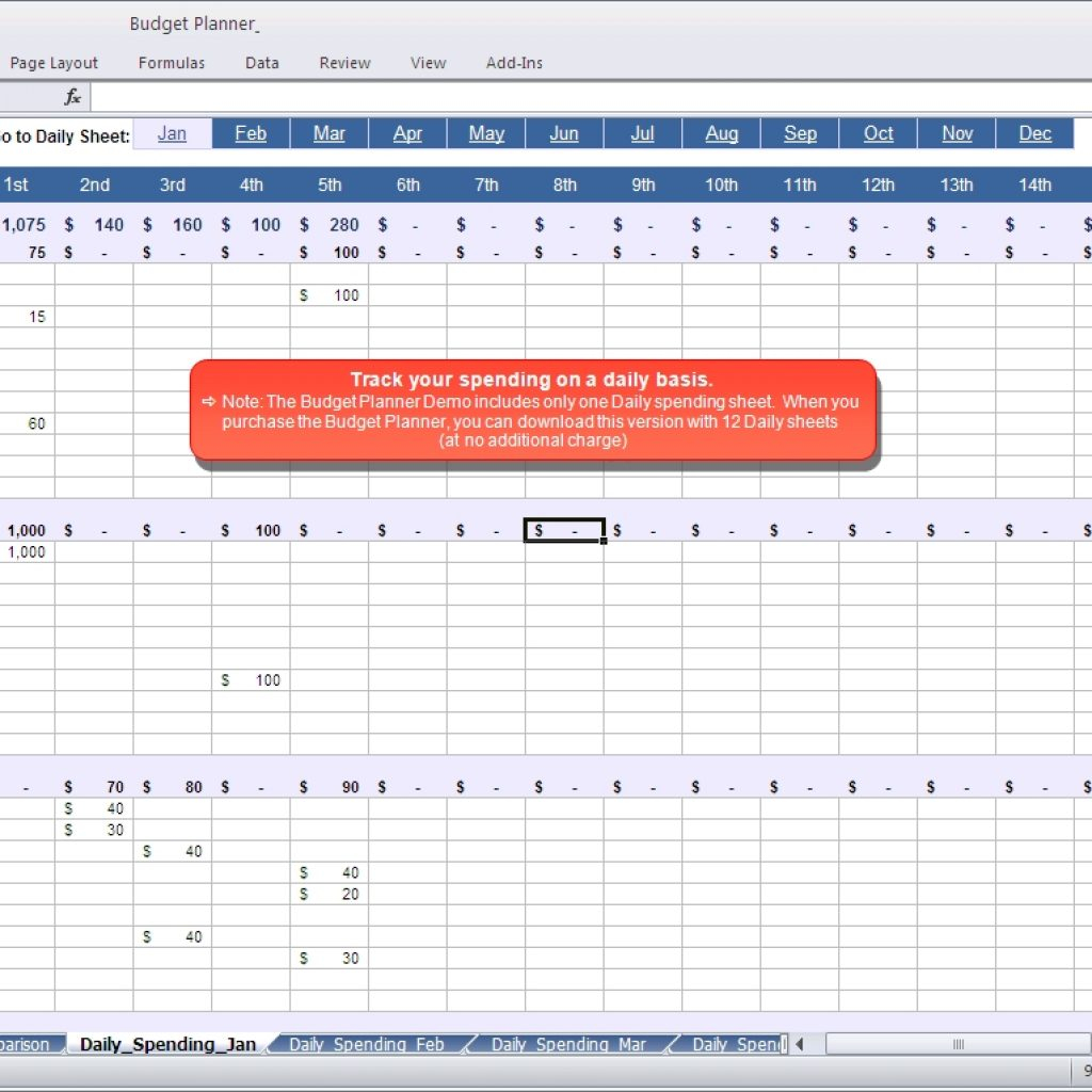 Daily Spreadsheet For Budget Planner  Daily Spending Spreadsheet Inside Budget Plan