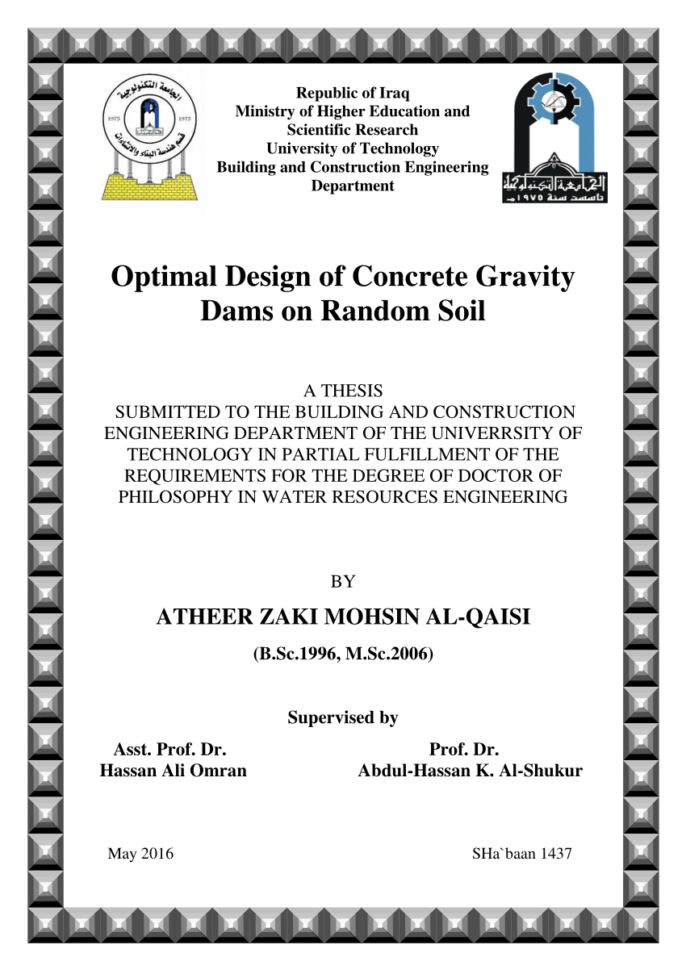 Dam Design Spreadsheet Regarding Pdf Design Of Gravity Damgenetic Algorithms