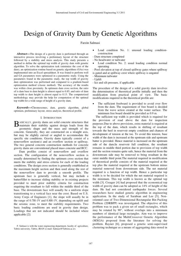 Dam Design Spreadsheet Within Pdf Design Of Gravity Damgenetic Algorithms