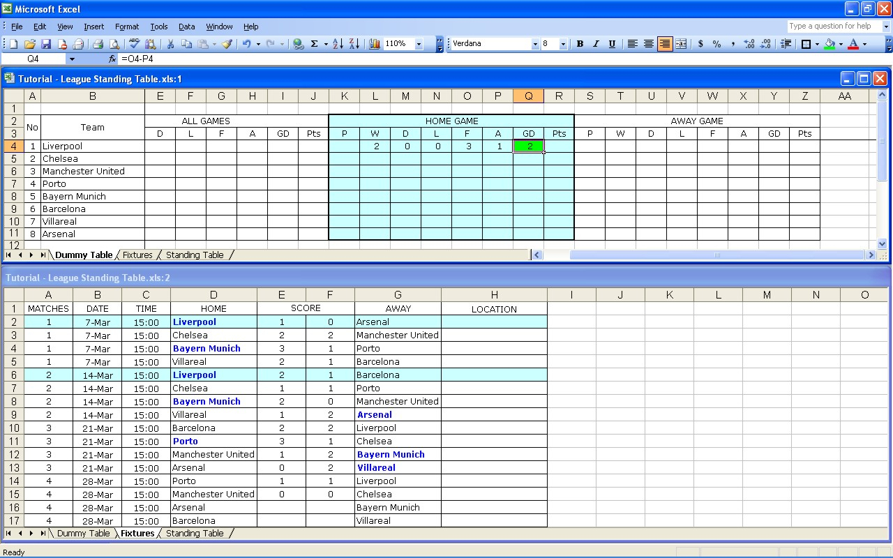 Darts League Excel Spreadsheet Intended For Create Your Own Soccer League Fixtures And Table  Excel Templates