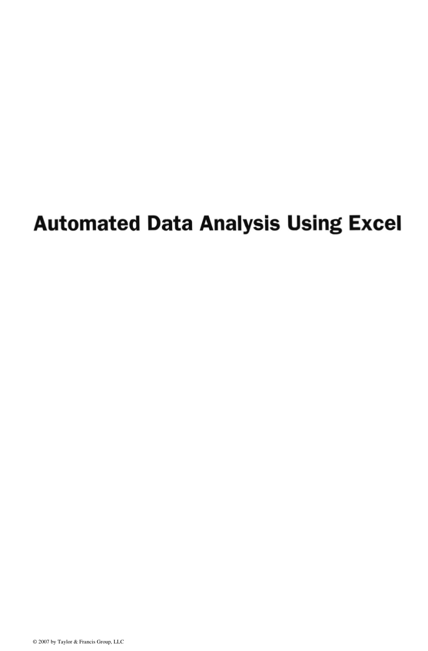 Data Analysis Using Spreadsheets For Pdf Automated Data Analysis Using Excel