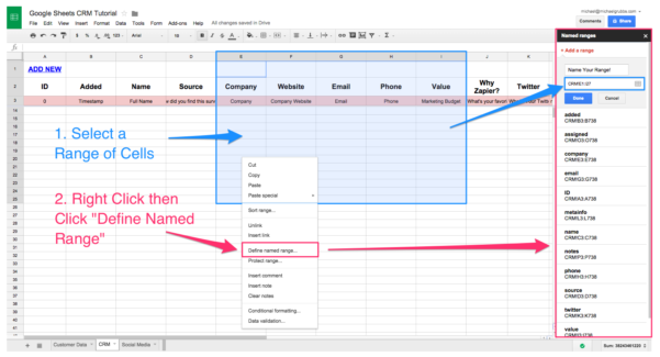 Database Spreadsheet Templates Within Spreadsheet Crm: How To Create A Customizable Crm With Google Sheets