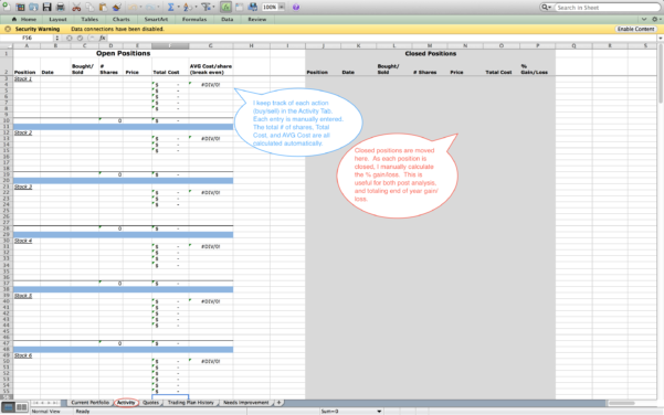 Day Trading Excel Spreadsheet Regarding How To Create Your Own Trading Journal In Excel