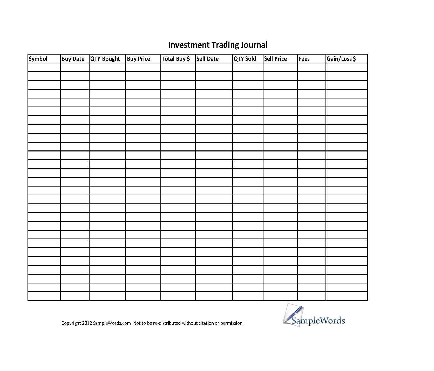 day trading tracking spreadsheet with investment stock