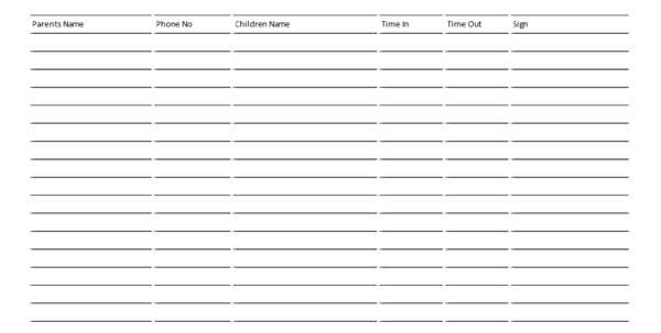 Daycare Payment Spreadsheet Pertaining To Free Childcare Signin Sheet 6 Columns Landscape  Templates At