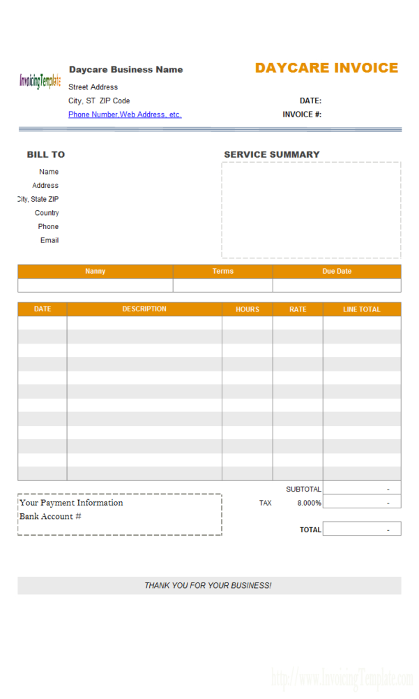 Daycare Payment Spreadsheet Template In Daycare Invoice Template