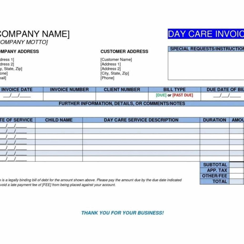 Daycare Payment Spreadsheet With Sample Invoice For Daycare And Daycare Payment Spreadsheet Template