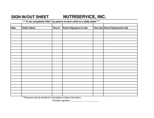 Daycare Payment Spreadsheet Within Sign In And Out Sheet For Daycare  Parttime Jobs
