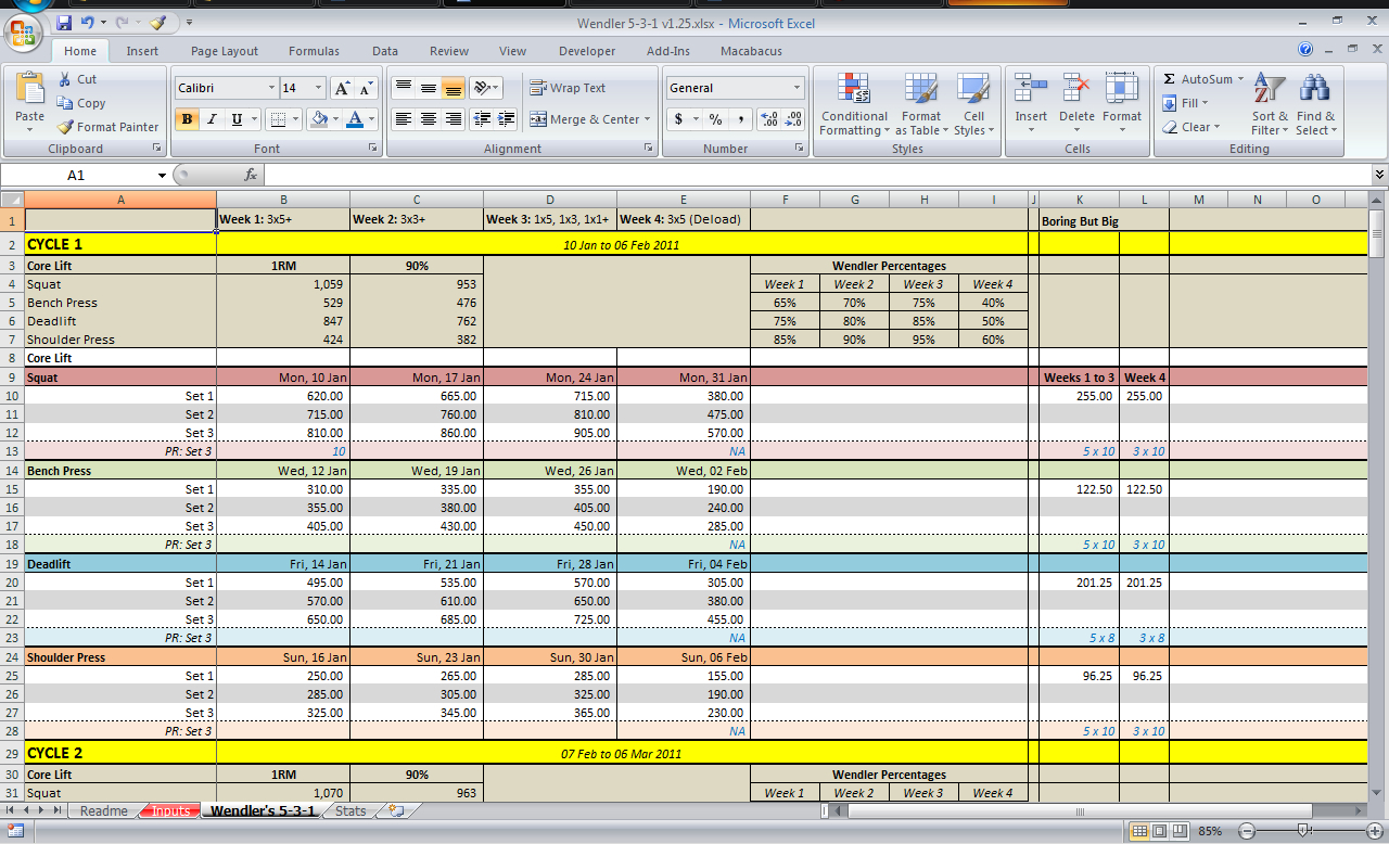 Deadlift Program Spreadsheet Throughout 531 Spreadsheet Download  All Things Gym