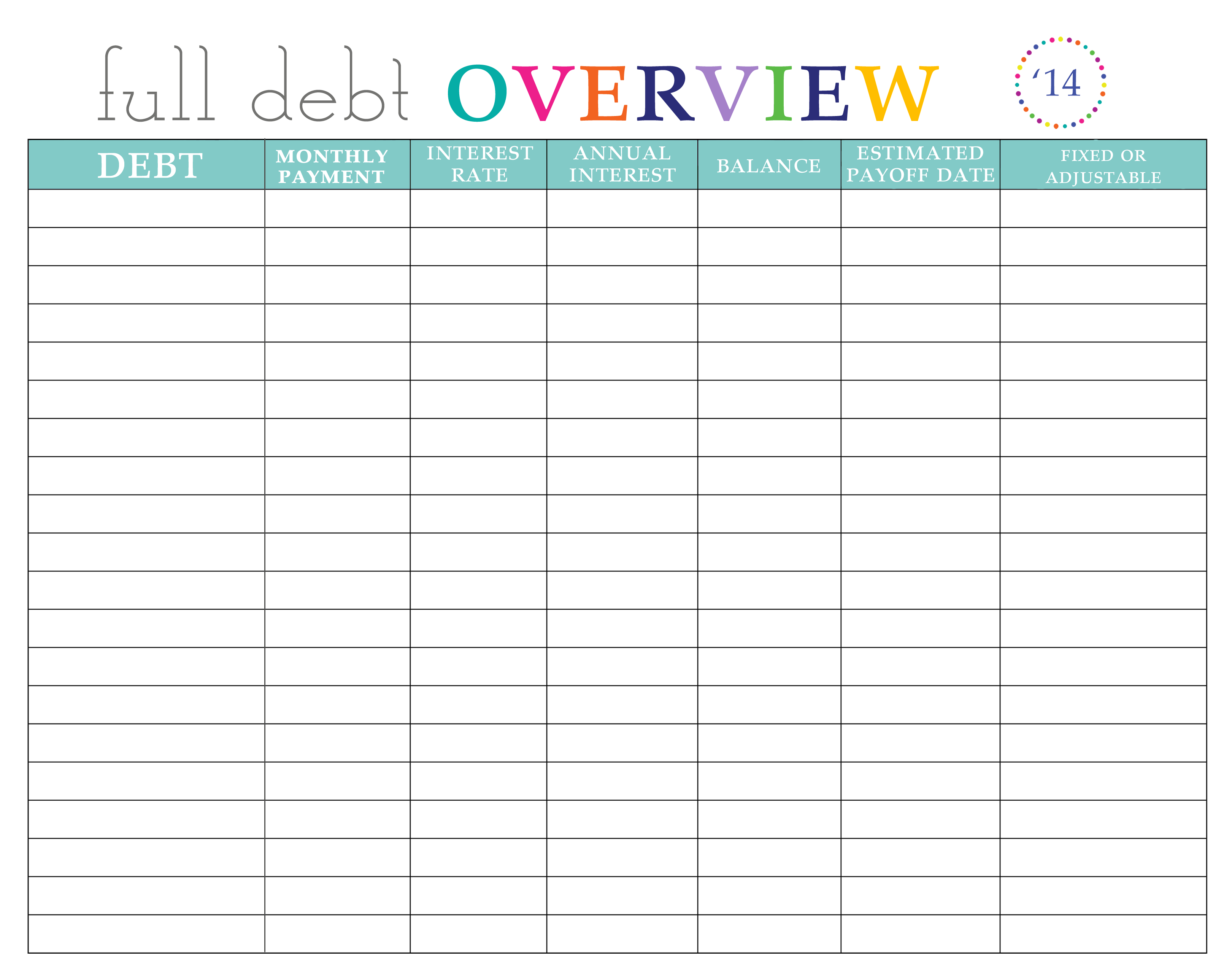 Debt Payment Spreadsheet For Paying Off Debt Worksheets