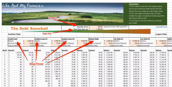 Debt Snowball Free Spreadsheet With Spreadsheet For Using Snowball Method To Pay Off Debt  Business Insider