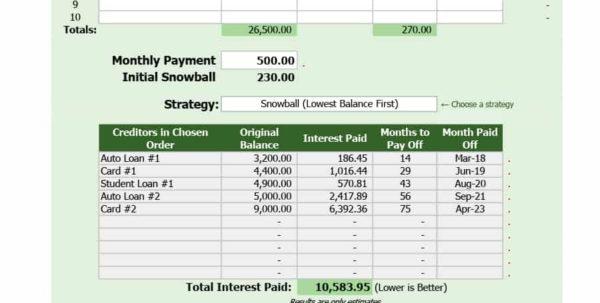 Debt Snowball Spreadsheet Inside 38 Debt Snowball Spreadsheets, Forms  Calculators ❄❄❄