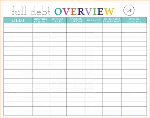 Debt Spreadsheet In Debt Reduction Spreadsheet Free Snowball Printable Template