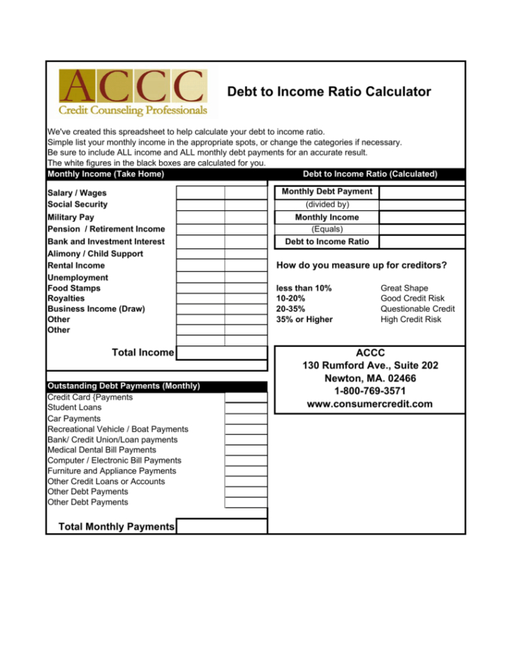 Debt To Income Ratio Spreadsheet Regarding Debt To Income Ratio Calculator
