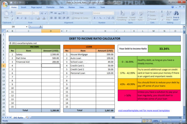Debt To Income Ratio Spreadsheet Throughout Download Debt To Income Ratio Calculator 1.0