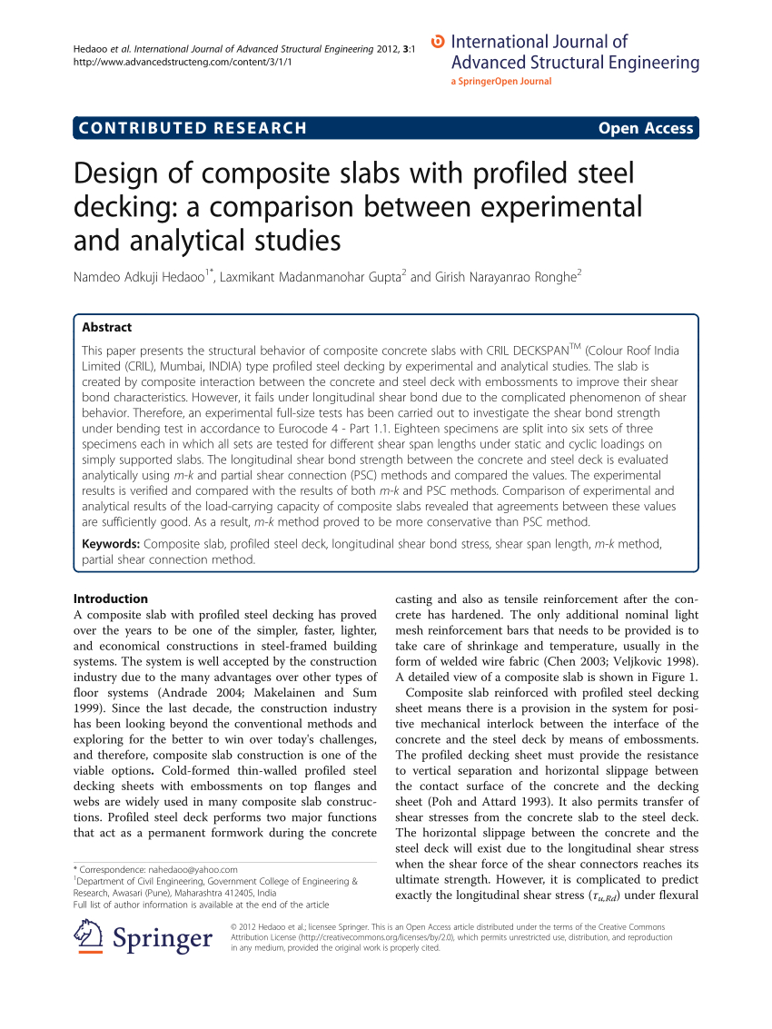 Deck Slab Design Spreadsheet In Pdf Design Of Composite Slabs With Profiled Steel Decking: A