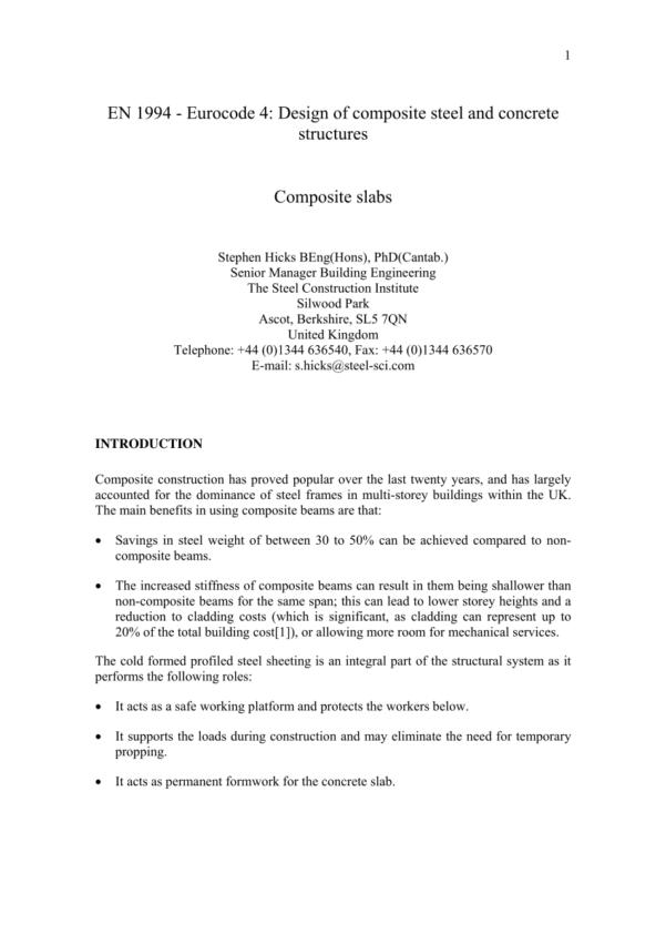 Deck Slab Design Spreadsheet Throughout Pdf Composite Slabs