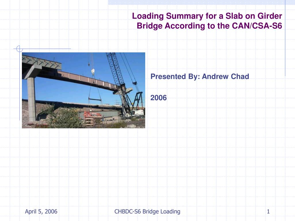 Deck Slab Design Spreadsheet With Regard To Ppt  Loading Summary For A Slab On Girder Bridge According To The