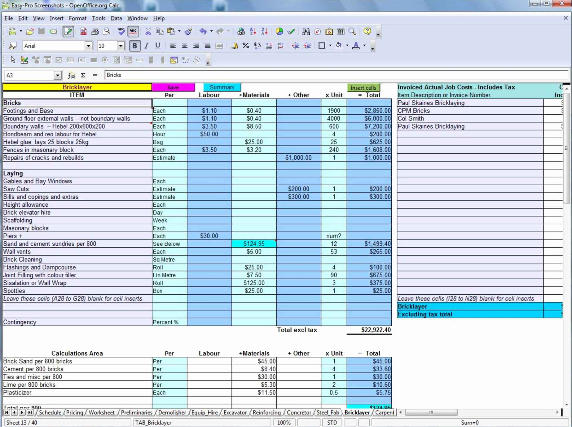 Demolition Estimating Spreadsheet Throughout Construction Bid Template Free Excel Along With Construction