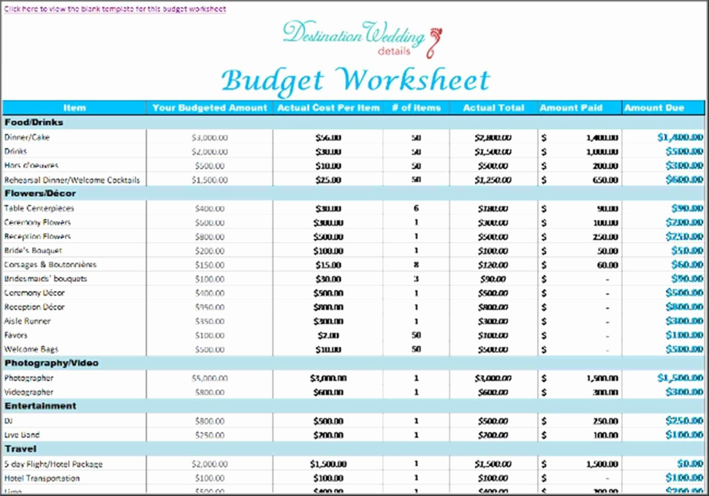 Destination Wedding Budget Spreadsheet Pertaining To Destination Wedding Budget Spreadsheet Elegant Wedding Bud Worksheet