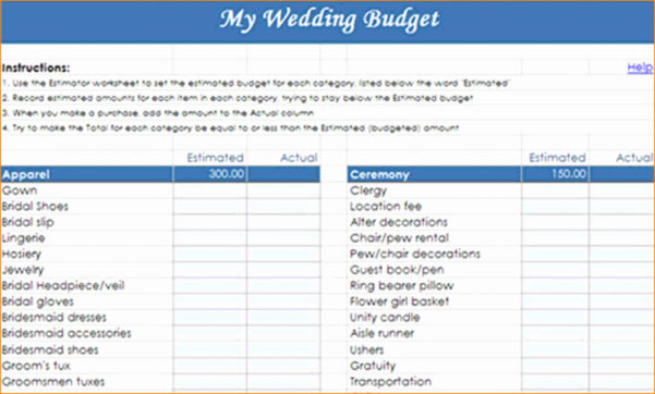 Detailed Wedding Budget Spreadsheet For Wedding Budget Worksheet Template Planner Example Of Spreadsheet