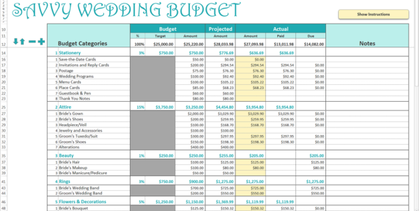 Detailed Wedding Budget Spreadsheet Pertaining To Smart Wedding Budget  Excel Template  Savvy Spreadsheets