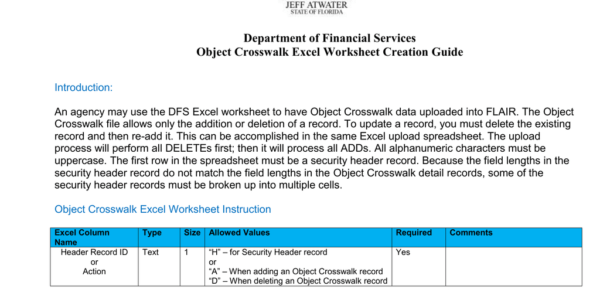 Dfs Excel Spreadsheet For Department Of Financial Services Object Crosswalk Excel Worksheet