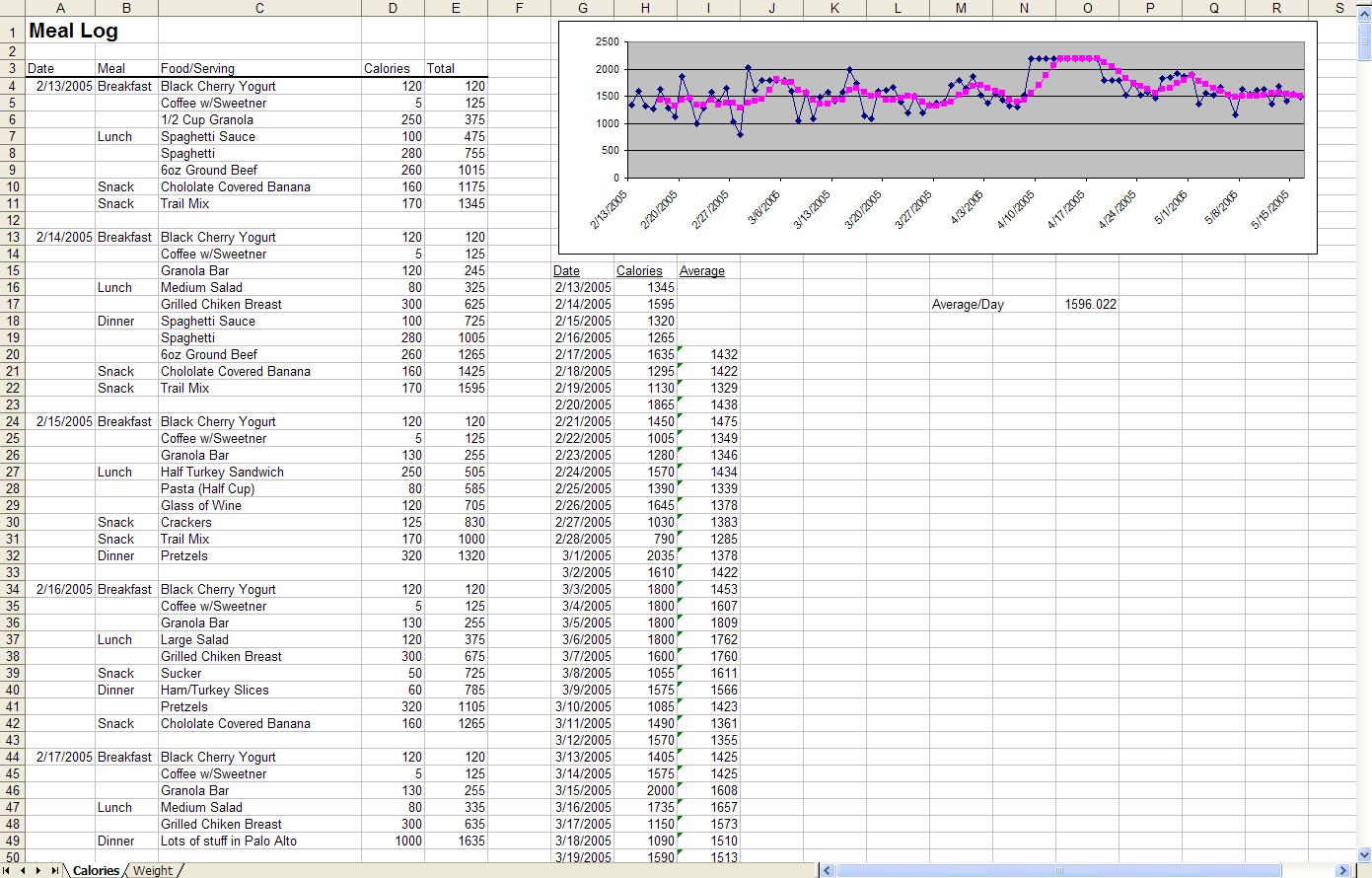 Diet Excel Spreadsheet Inside The Diet Spreadsheet By Jeremy Zawodny