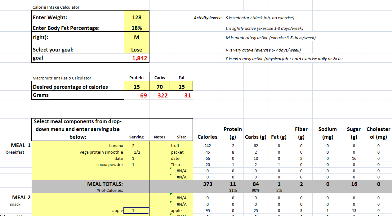 Diet Spreadsheet Intended For Free Diet Planner – Vegan Muscle And Fitness
