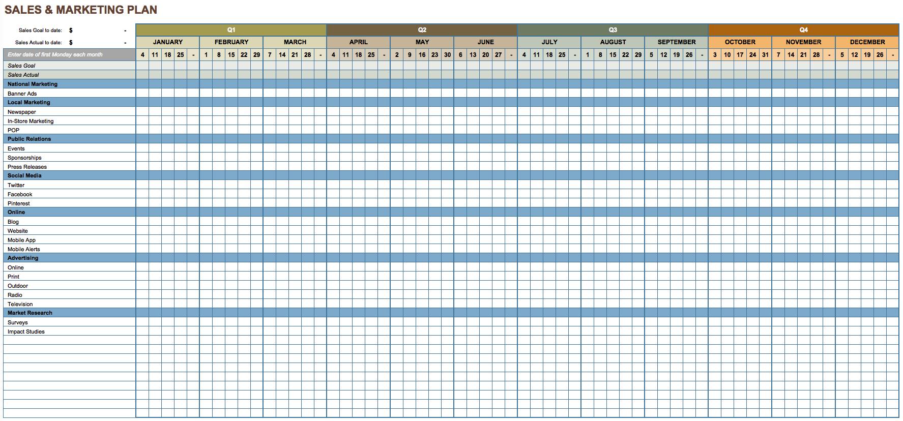 Digital Marketing Spreadsheet For Marketing Action Plan Template Excel Marketing Spreadsheet Template