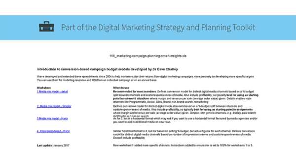 Digital Marketing Spreadsheet Inside Digital Marketing Planning Spreadsheet  Smart Insights Digital
