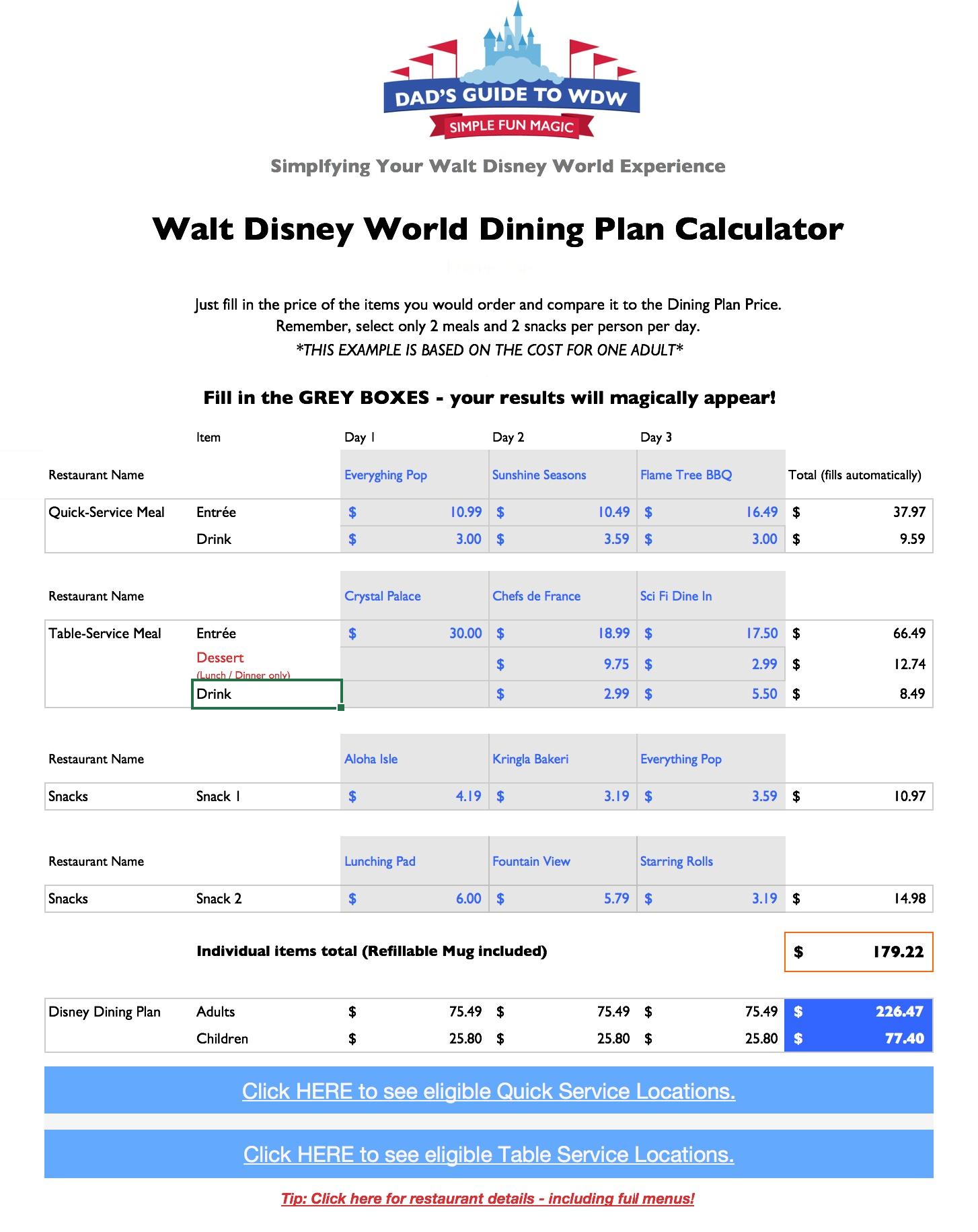 Disney Dining Plan Spreadsheet For Disney Dining Plan Calculators