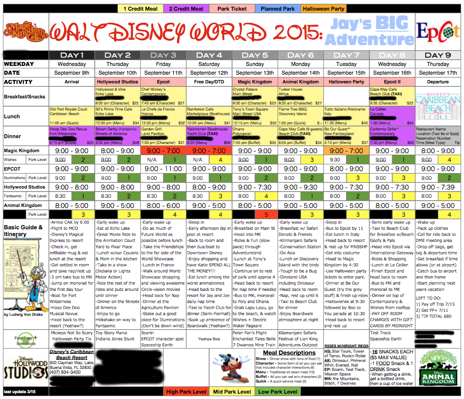 Disney Dining Plan Spreadsheet For My Obsessed Husband Works On This From The Day We Get Back From A
