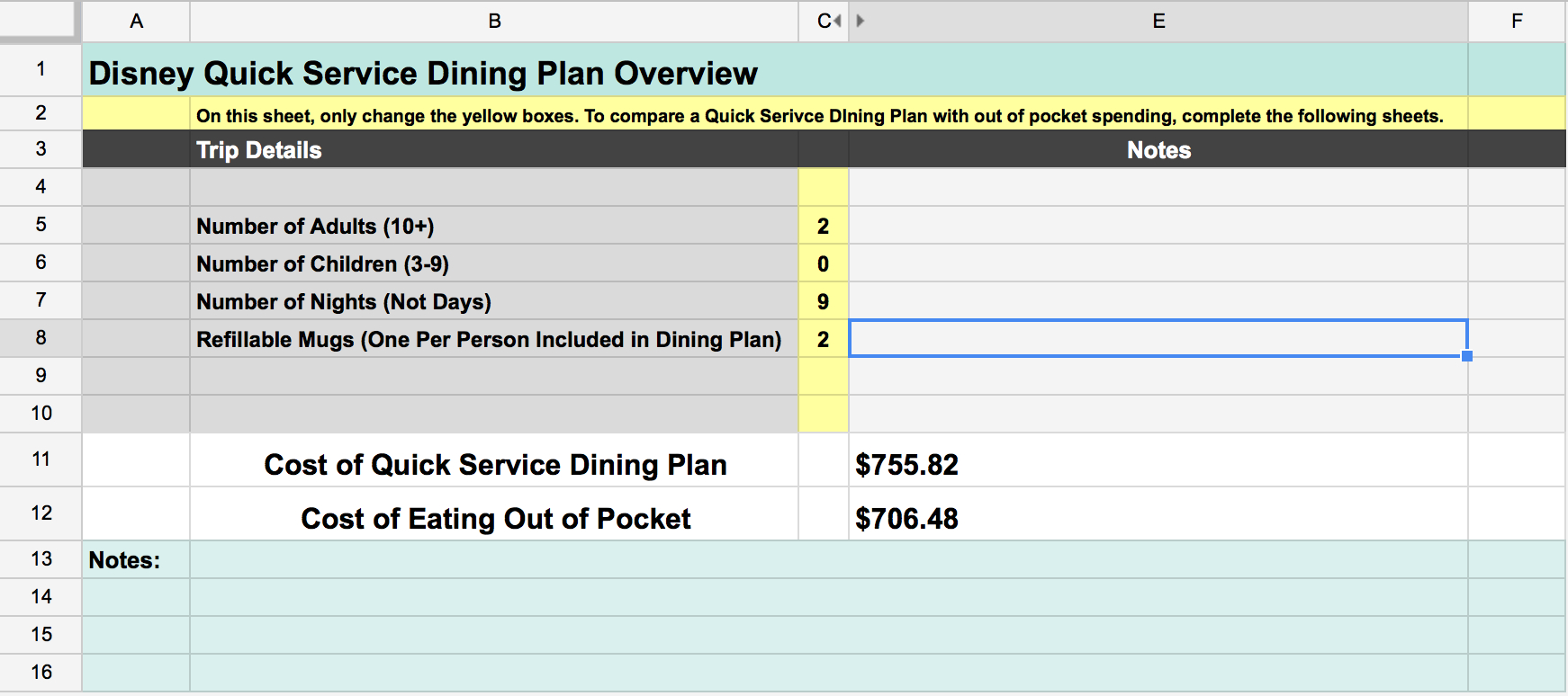 Disney Dining Plan Spreadsheet regarding Disney Dining Plan: Is It Right For Your Family?  Our Handcrafted Life