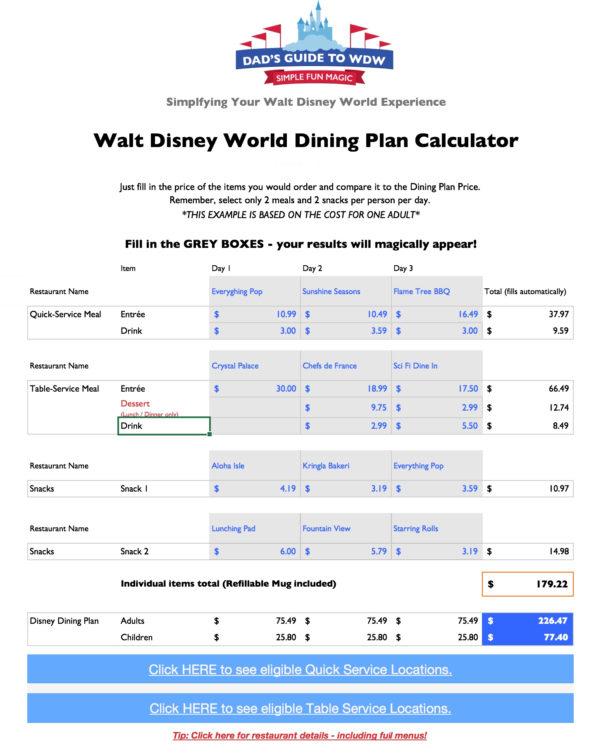 Disney Planning Spreadsheet Download Regarding Disney Dining Plan Calculators